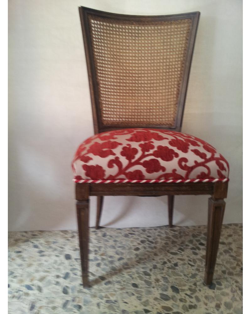 Silla de nogal tipo rejilla en tela de chenilla - Telas tapiceria sillas ...